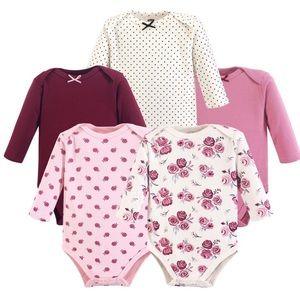 •White & Pink Rose Long-Sleeve Bodysuits (5 Set)